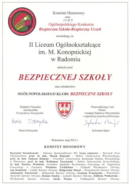 Dyplom Bezpieczna Szkoła