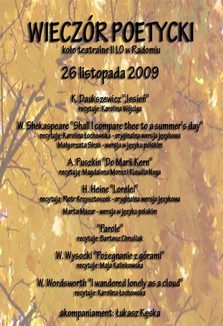 Plakat Wieczoru Poetyckiego