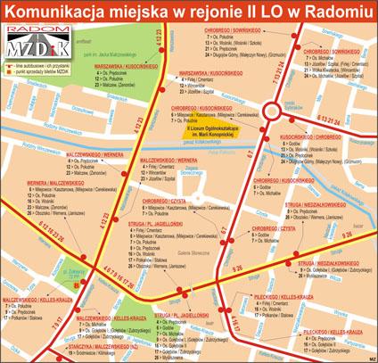 Mapa dojazdu komunikacją miejską