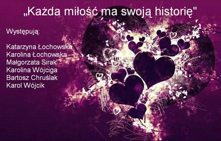 """Plakat spektaklu """"Każda miłość ma swoją historię"""""""